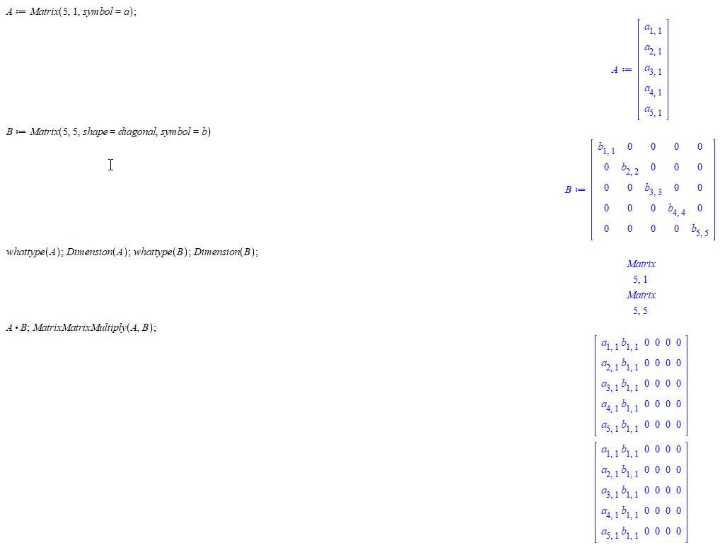 matrix matrix multiplication non-conformable matrices - MaplePrimes
