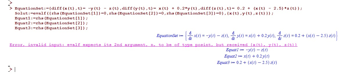 evalf instead of solve in solving a system of differential